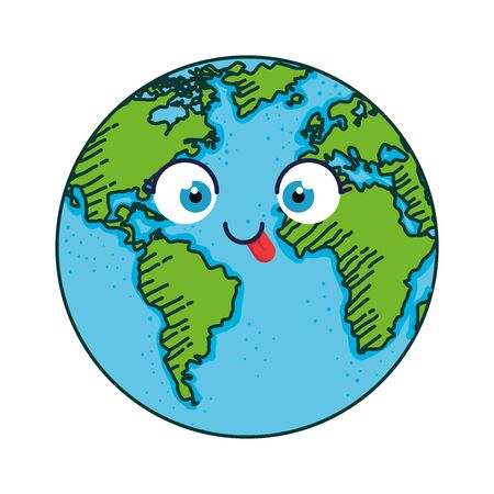 world planet earth character vector illustration design