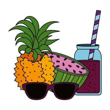 watermelon and pineapple juice with pot and sunglasses vector illustration design