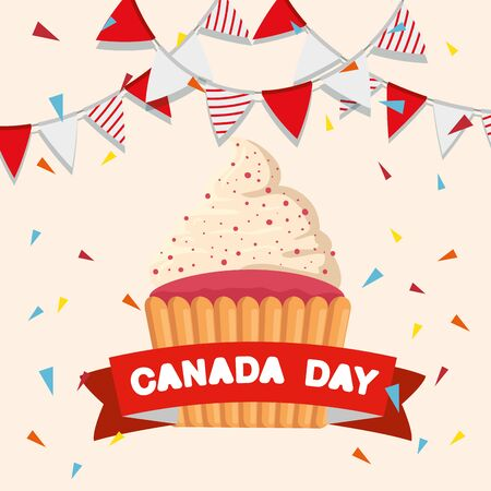 party banner with muffin and ribbon to canada holiday vector illustration
