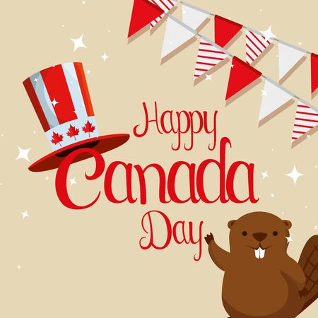 beaver with patriotic hat and canada party banner vector illustration