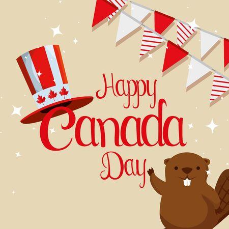 castoro con cappello patriottico e illustrazione vettoriale bandiera canada party