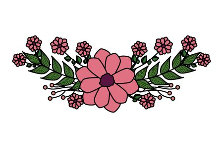 beautiful flower with leafs crown vector illustration design