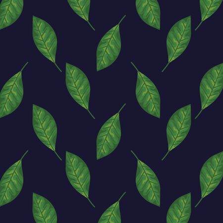 exotic leaves plants style background vector illustration