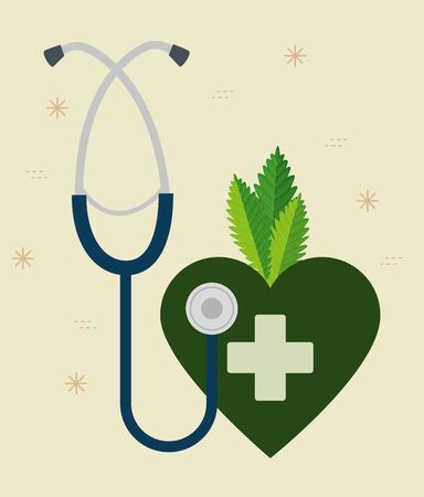 stethoscope with heart and cross to medicine cannabis plant vector illustration