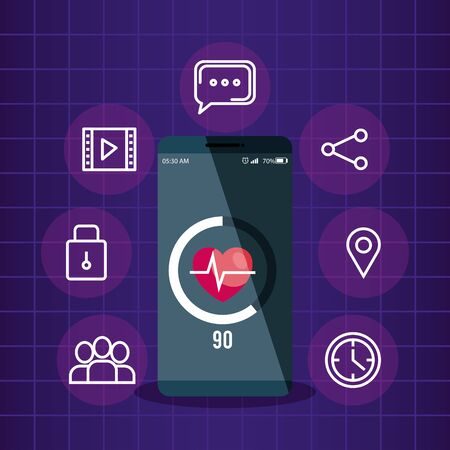 smartphone technology with heartbeat and media app vector illustration