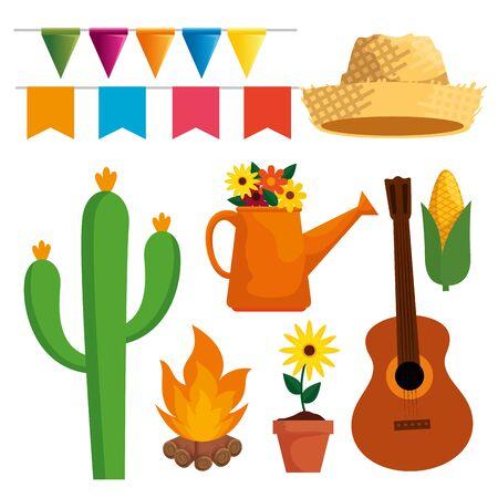 set festa junina celebration with party decoration vector illustration