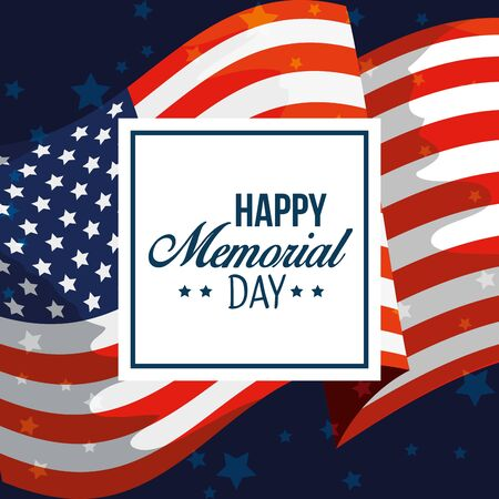 emblem with usa flag to memorial day vector illustration