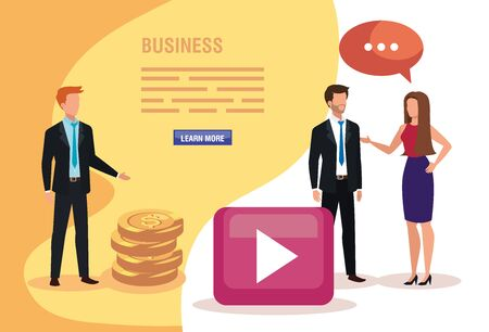 group of business people with pile coins and icons vector illustration design