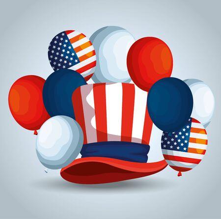 traditonal hat with usa flag balloons vector illustration