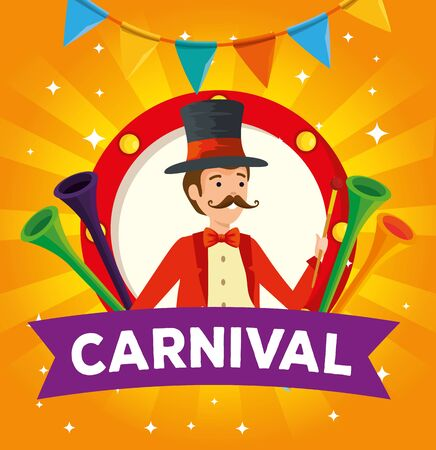 label man magician with trumpets and party banner vector illustration
