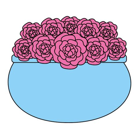 roses decoration in ceramic pot vector illustartion design 向量圖像