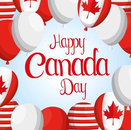 balloons to happy canada celebration holiday vector illustration