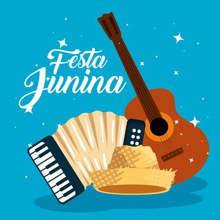 guitar with accordion and hat to festa junina vector illustration