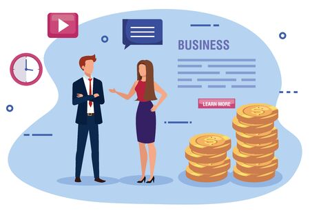 business couple with pile coins and icons vector illustration design