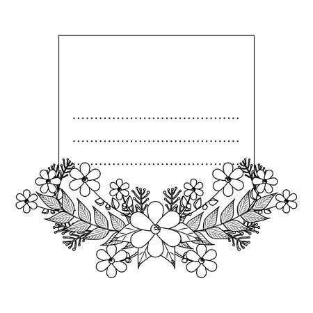 postcard with flowers and leafs decoration vector illustration design