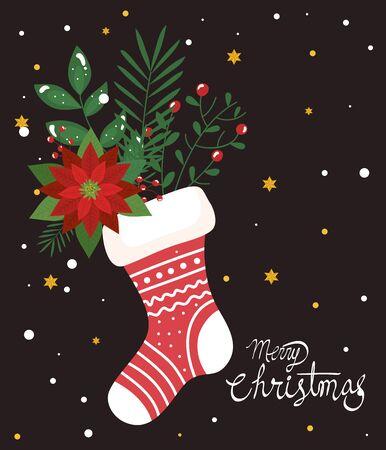 merry christmas poster with sock and flowers decoration vector illustration design Ilustração