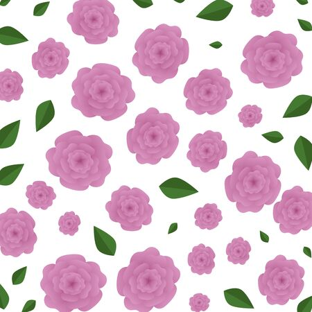 beautiful roses with leafs pattern background vector illustration design