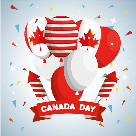 canada flag balloons with fireworks and ribbon vector illustration