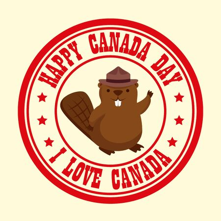 label of canada holiday with beaver and message vector illustration Illusztráció