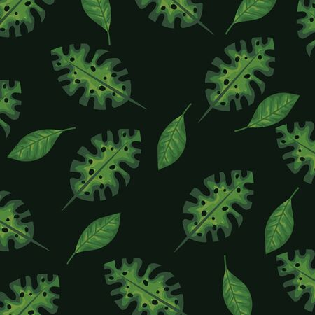 natural leaves plants style background vector illustration