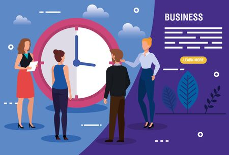 business people with clock and icons vector illustration design