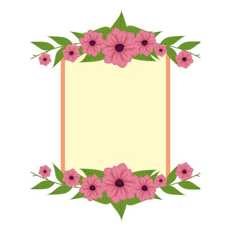 beautiful flowers with leafs elegant frame vector illustration design 向量圖像