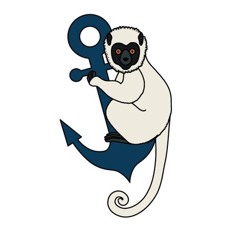 tropical capuchin monkey with anchor vector illustration design Illustration