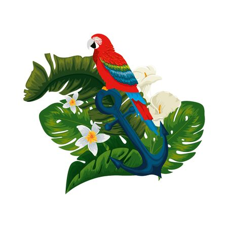 tropical and exotic parrot in anchor with floral decoration vector illustration design