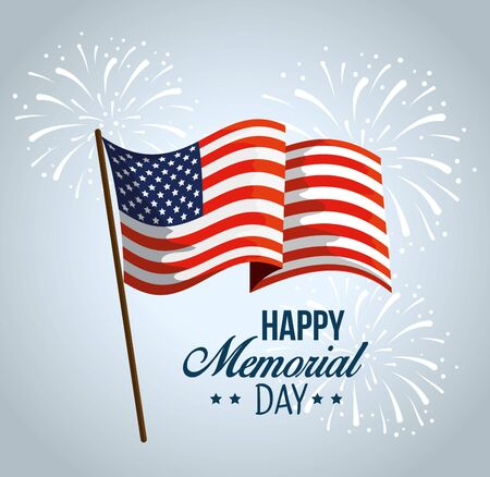 patriotic usa flag to memorial day vector illustration