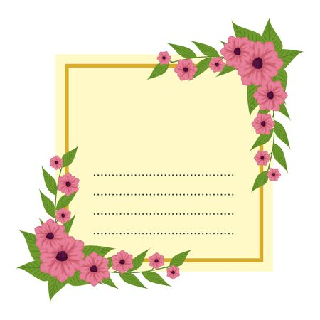 postcard with roses and leafs decoration vector illustration design 向量圖像