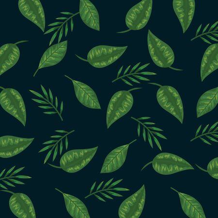 tropical branches plant with nature leaves background vector illustration Ilustração