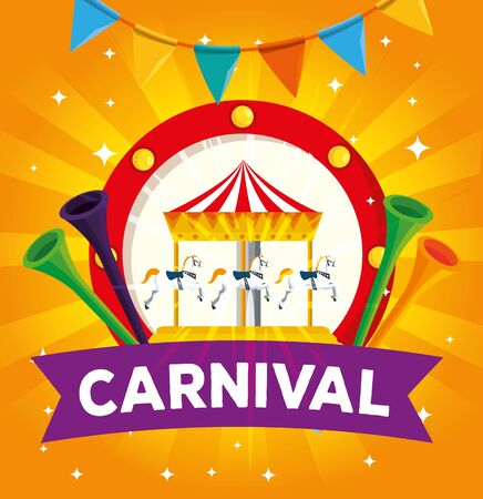 label of carnival merry go round and trumpets with party banner vector illustration Illusztráció