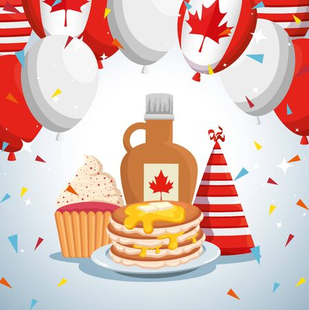 canada flag balloons with pancakes and party hat with jar and muffin vector illustration 일러스트
