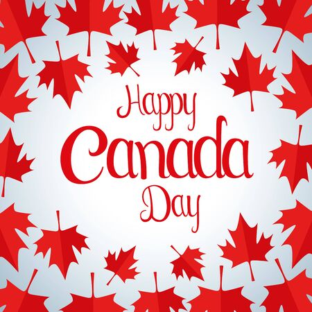 happy canada day with leaves background vector illustration 일러스트