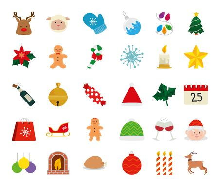 set of icons merry christmas vector illustration design