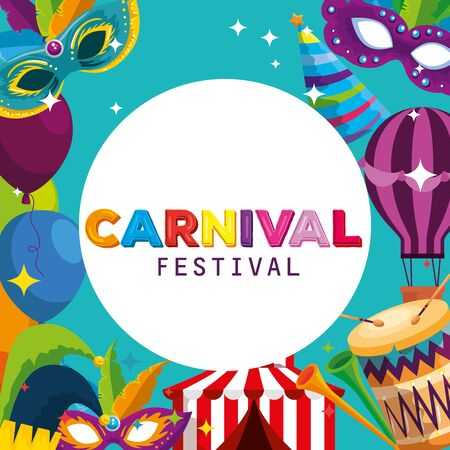 carnival label with traditional festival decoration to party vector illustration