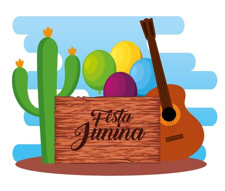 wood emblem with cactus plant and guitar vector illustration