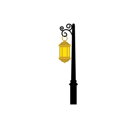 lantern light hanging in post isolated icon vector illustration design