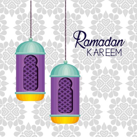 lamps decoration hanging to ramadan kareem vector illustration