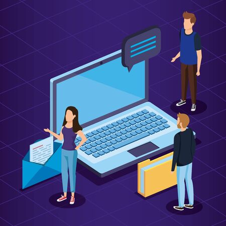 woman and men with laptop technology and chat bubble vector illustration