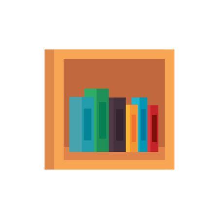 shelf wooden with pile text books library icons vector illustration design Ilustración de vector
