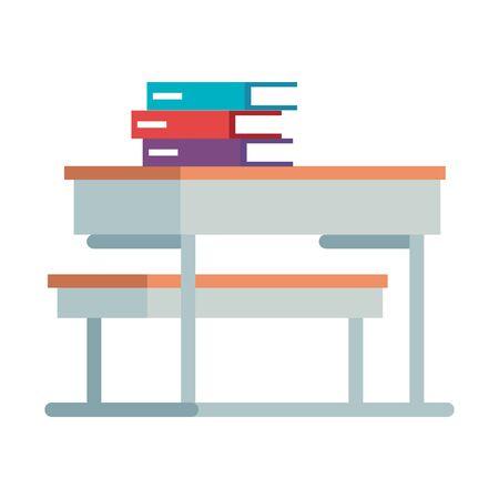 pile text books in school desk vector illustration design Ilustracja