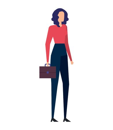 elegant young businesswoman with portfolio vector illustration design Çizim