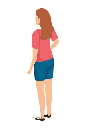 cute young woman back character vector illustration design Çizim