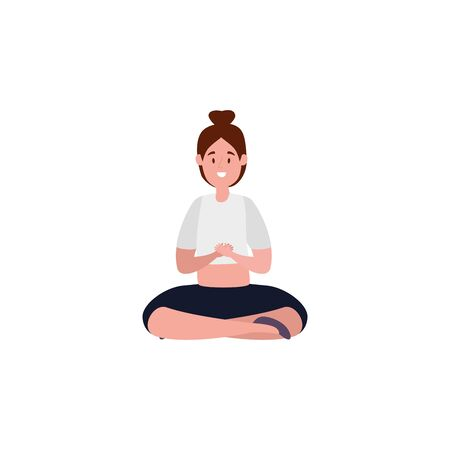 beauty woman practicing pilates with lotus position vector illustration design Иллюстрация