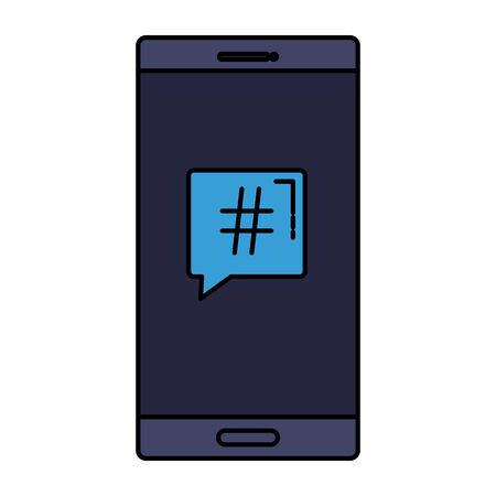 smartphone with speech bubble hashtag symbol vector illustration design Banque d'images - 133850842