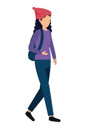 happy young woman with schoolbag vector illustration design