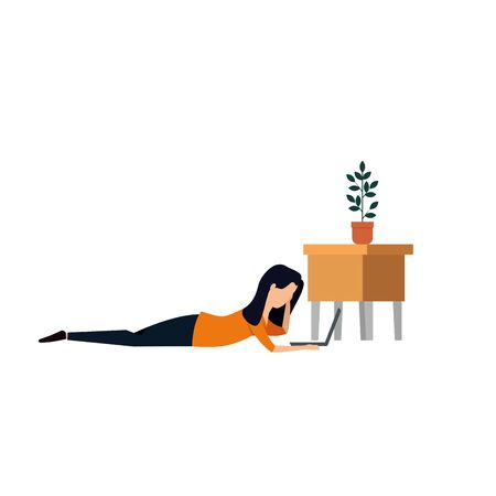 businesswoman lying reading book with houseplant vector illustration design
