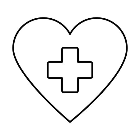 medical heart with cross icon vector illustration design