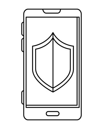 smartphone with shield security icon vector illustration design
